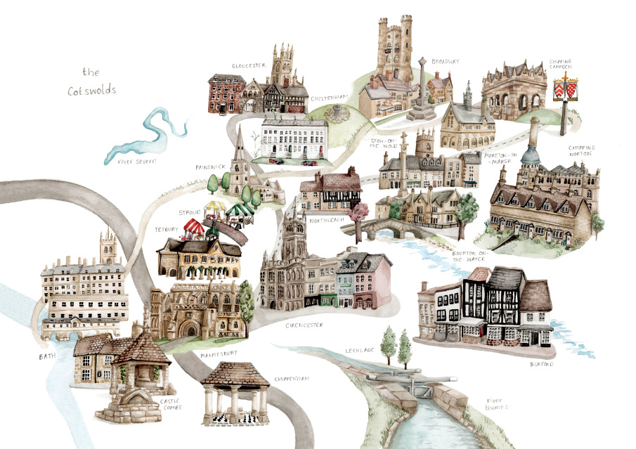 Illustrated City And Food Maps Laura Hallett Art And